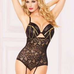 Floral lace teddy with gold zipper and chain