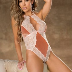 Crushed Velvet & Lace Teddy