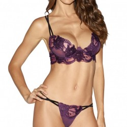 Dreamgirl Plum Sheer Embroidered Lace Bra and Garter Skirt Set